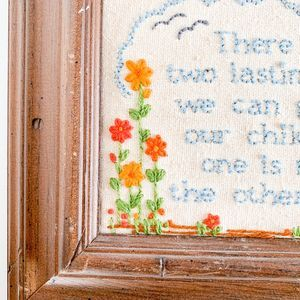 Vintage Wall Art - Vintage Inspirational Cross-Stitch in Wooden Frame